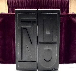 Fendi Unisex Wide Suede Leather Logo Belt
